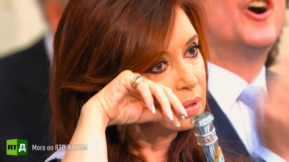 Former Argentinian President Cristina Kirchner wipes a tear from her eye. Still taken from RTD documentary Argentinian DNA: The Fracture.