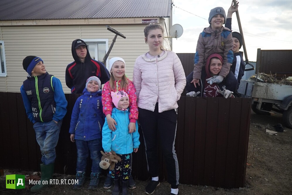 Big Sister 19-year old Russian girl takes on six kids and a farm