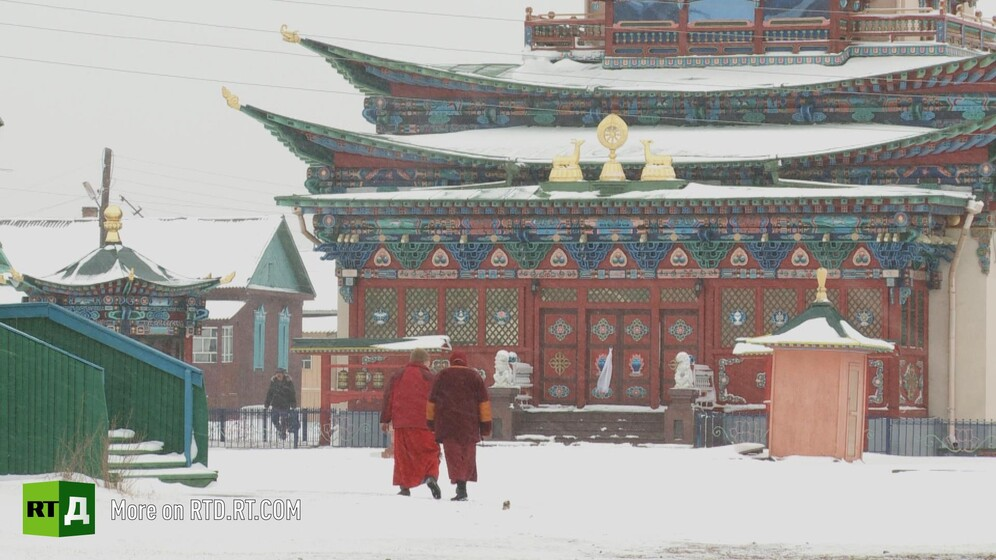 Ivolginsky Datsan, a buddhist monastery in Burytia, Russia, in the snow. Still taken from RTD documentary Searching for a Miracle.