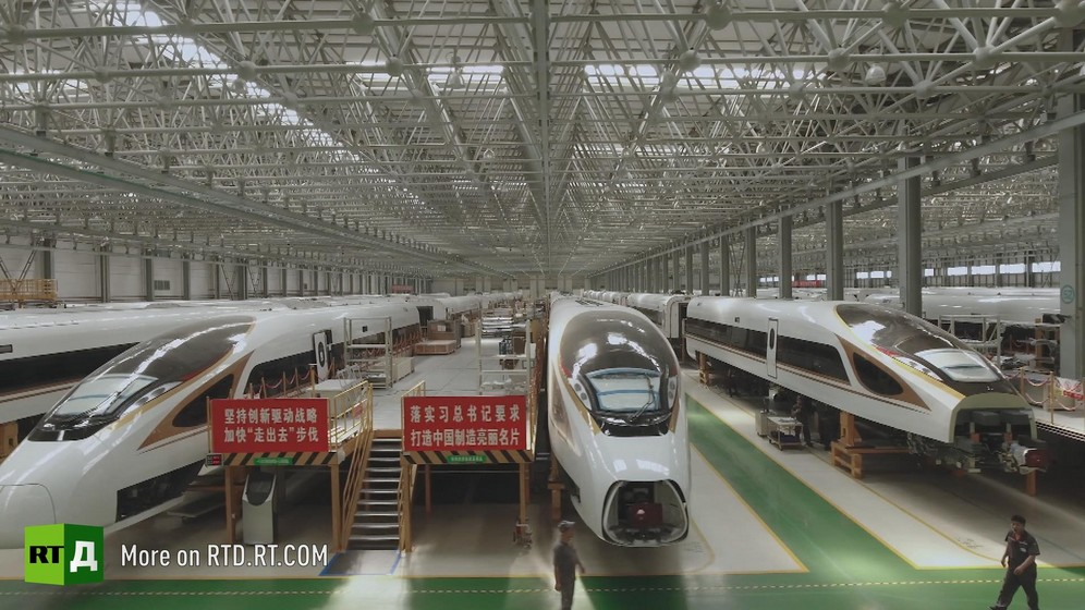 Warehouse stocked with Chinese high speed trains. Still taken from RTD documentary Chinese Speed  in the This is China series.