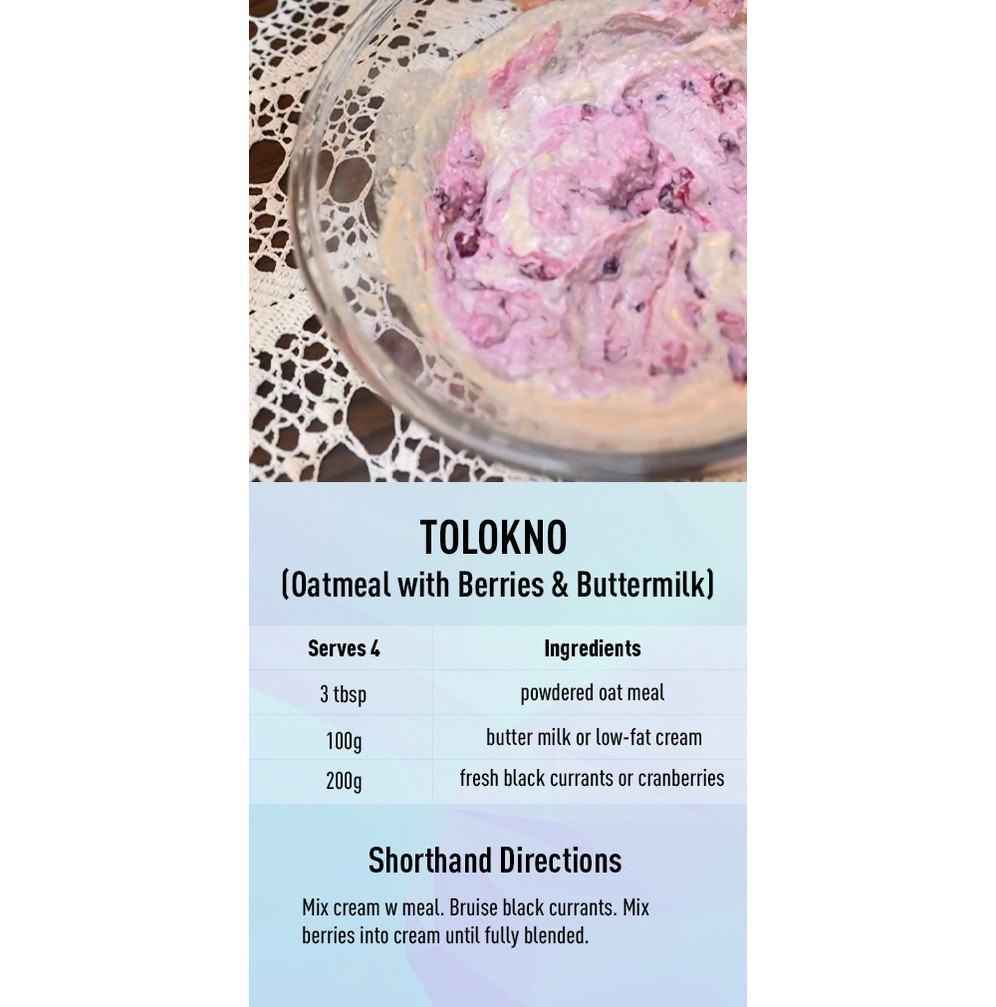Tolokno (Oatmeal with Berries & Buttermilk) recipe