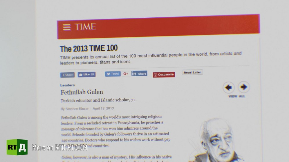 Top half of a page of Time Magazine on Time's 100 for 2013 listing Fethullah Gulen as an 'Islamic scholar and educator'. Still taken from RTD's documentary series on Fethullah Gulen, The Gulen Mystery, Episode 2: Gulen's Hizmet Movement.