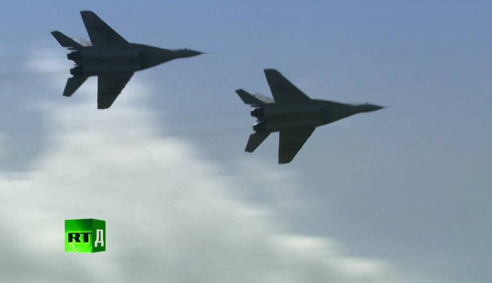 A pair of MiG-29s in close formation