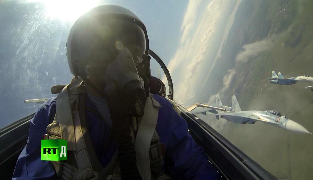 SU-27 during an aerobatics training mission