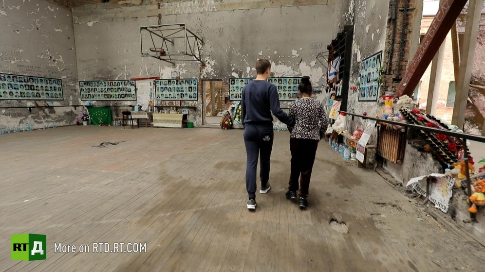 Shrine to the victims at the Beslan school sports hall where the terror attack took place. Still taken from RTD documentary Living for the Angels.