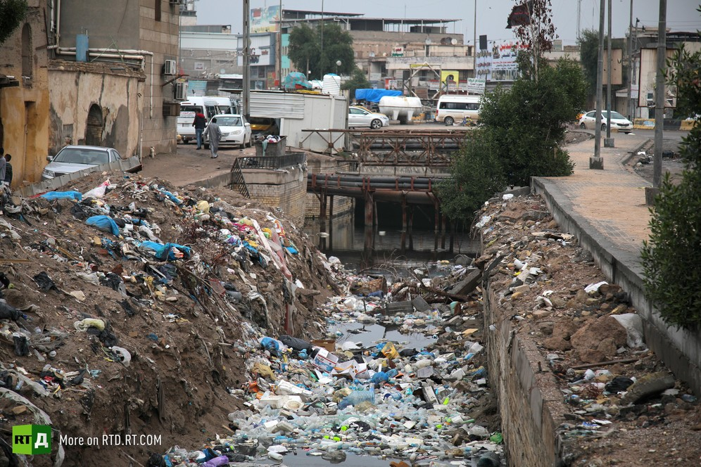 Basra canal filled with rubbish, Iraq. Still taken from RTD documentary Rivers of Discord: Basra's Water Crisis.