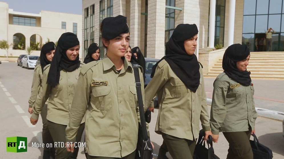 Female Palestinian cadets marching in uniform at Al-Istiqlal university in Jericho. Still taken from RTD documentary Palestine Seeking Recognition series.