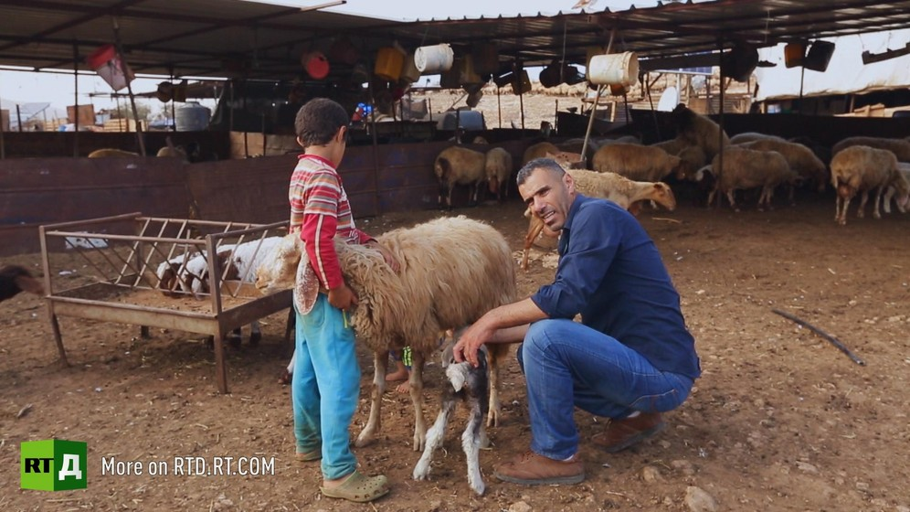 A Bedouin shepherd holding sheep with his son. Still taken from RTD documentary Palestine in Seeking Recognition series.