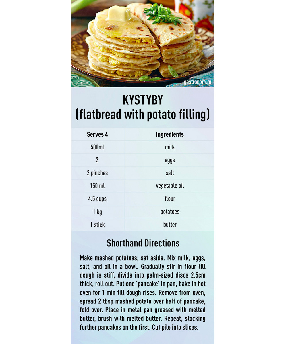 Kystyby (Flatbread with potato filling) recipe