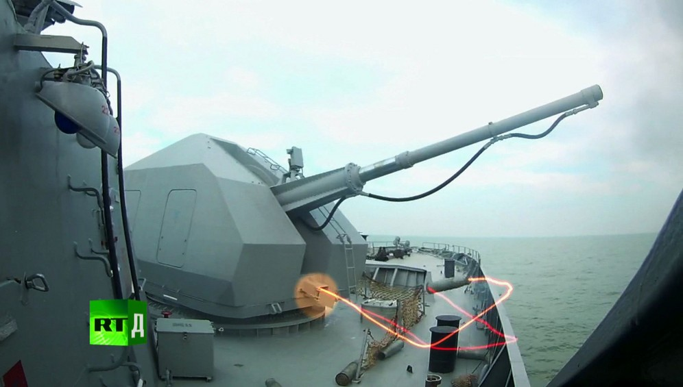 The A-190 gun on the Buyan-M Corvette can hit both surface and air targets and the ship can keep going at full speed while it's shooting