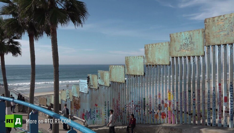 Border fence between Tijuana, Mexico, and the United States. Still taken from RTD documentary