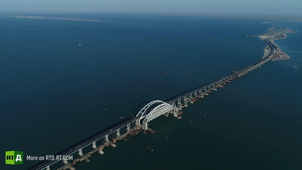 Crimea Bridge arch, an aerial view over the Kerch Straits. Still taken from RTD documentary The Bridge.