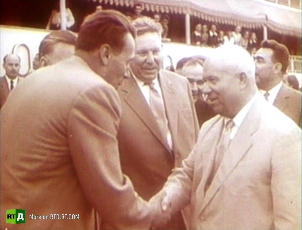 Ekranoplan engineer Rostislav Alexeyev shakes hands with Soviet Premier Nikita Khrushchev at a display of ekranoplans in 1962.