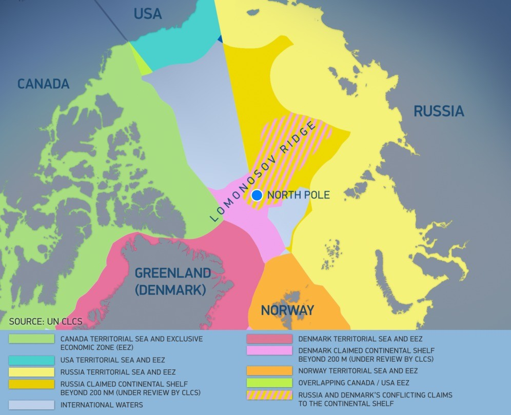 The map shows maritime jurisdiction and boundaries in the Arctic region and potential areas of continental shelf beyond 200 nautical miles