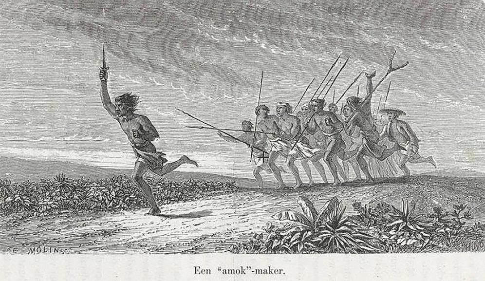 Crowd chasing an amok runner in Indonesia, 19th century engraving