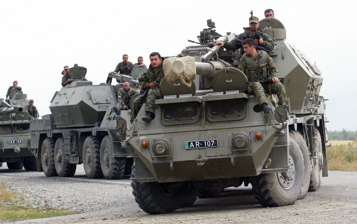 Georgian troops enter the South Ossetian capital Tskhinval in 2008