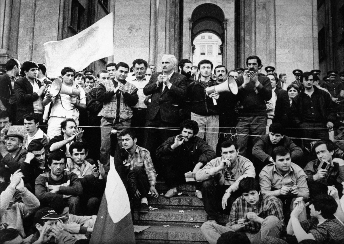 Georgian protesters during the 1989 anti-Soviet demonstrations in Tbilisi