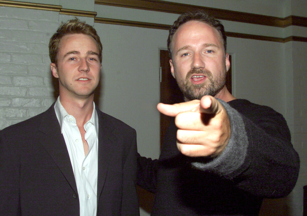 Actor Edward Norton poses with the film's director David Fincher at the film's premiere October 6, 1999 in Los Angeles