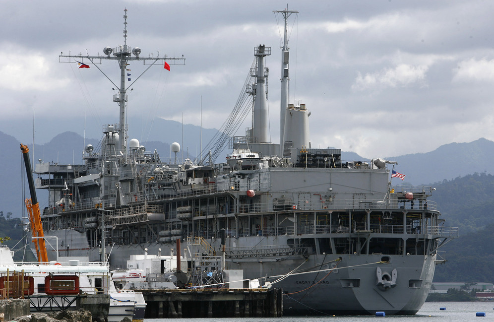 US submarine support ship docked in Manila
