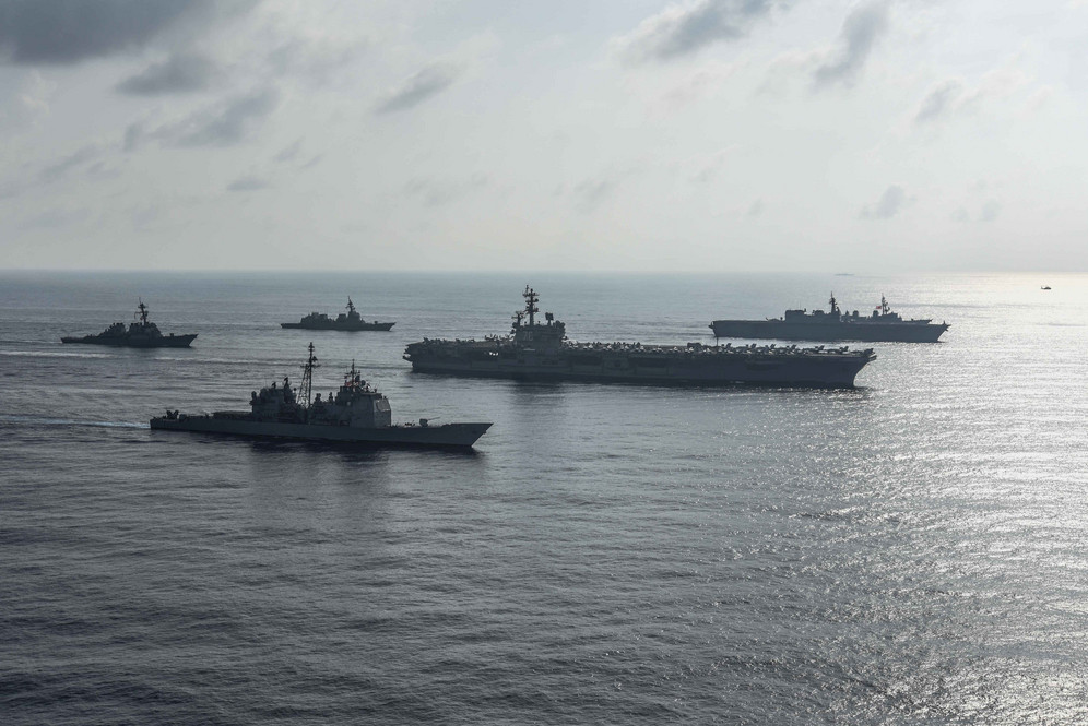Ronald Reagan Aircraft carrier and US Navy ships in naval exercise in South China Sea