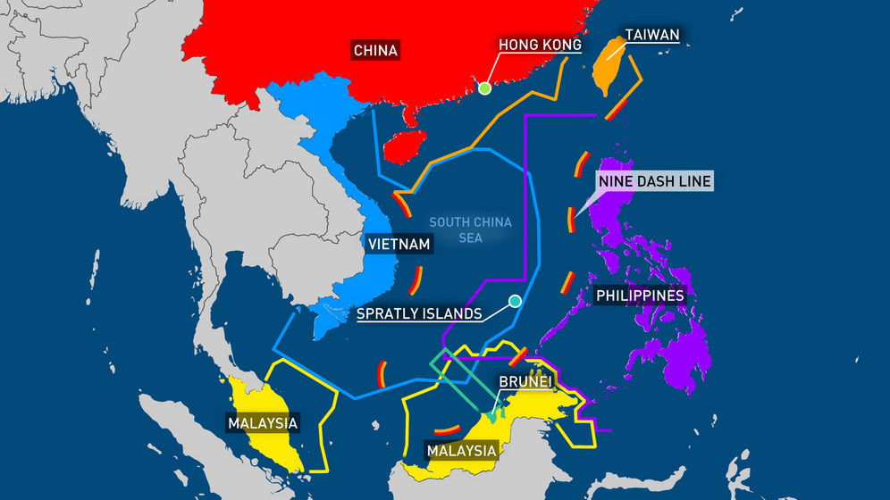 Map of Asian country territorial water claims in South China Sea, including China's Nine Dash Line