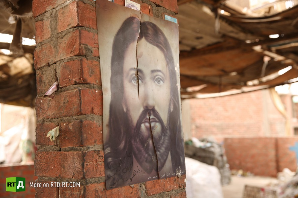 Picture of Jesus-Christ in the Coptic neighbourhood of Garbage City, home to Cairo's legendary rubbish collectors