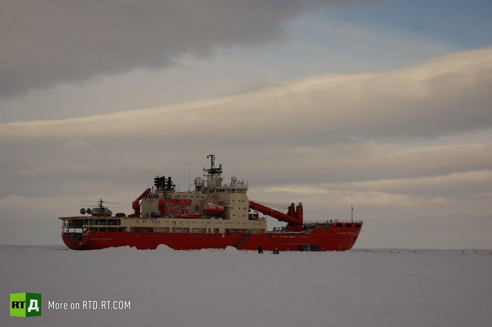 The Akademik Tryoshnikov is wedged into an Arctic Ocean ice floe.